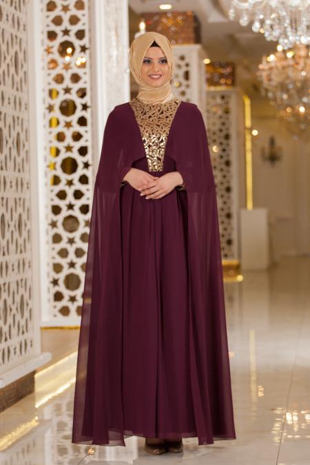 Neva Style - Pelerinli Pul Payetli Mürdüm Tesettür Abiye Elbise 52551MU