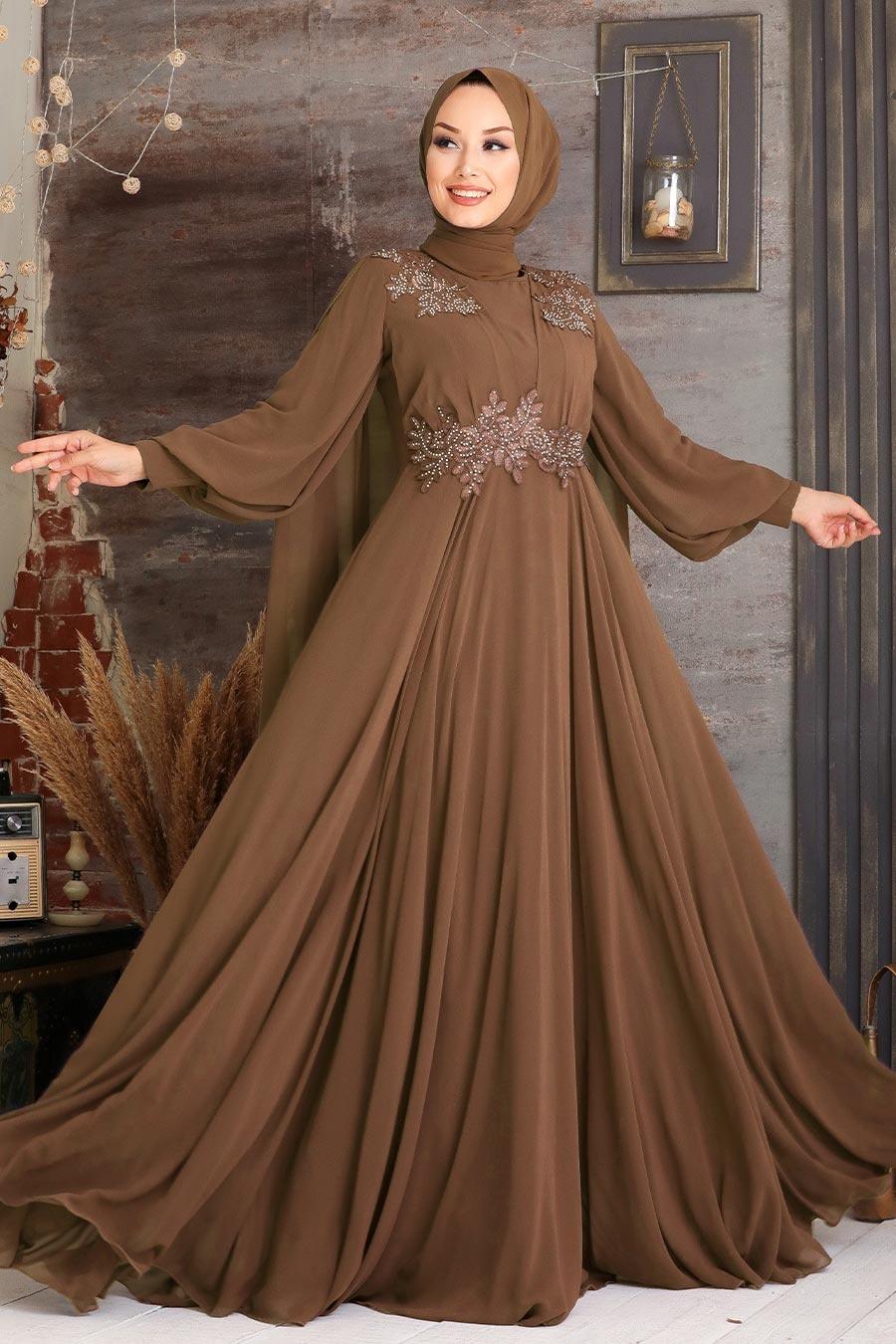 Neva Style - Pelerinli Taba Tesettür Abiye Elbise 9130TB