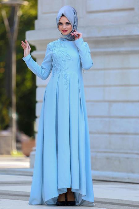 Neva Style - Pileli Bebek Mavisi Tesettür Abiye Elbise 3520BM