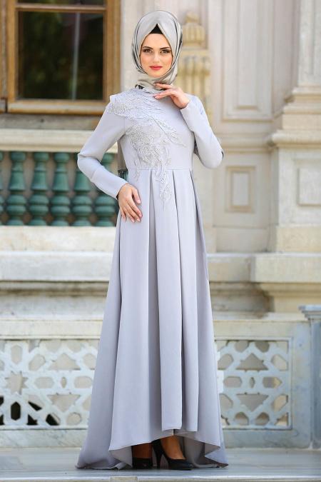 Neva Style - Pileli Gri Tesettür Abiye Elbise 3520GR