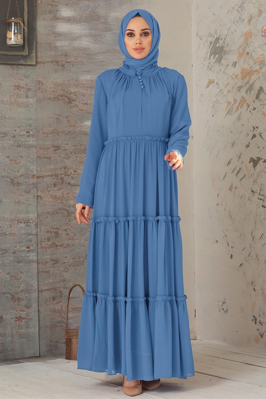 Neva Style - Pileli İndigo Mavisi Tesettür Elbise 2746IM