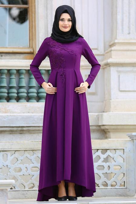 Neva Style - Pileli Mor Tesettür Abiye Elbise 3520MOR
