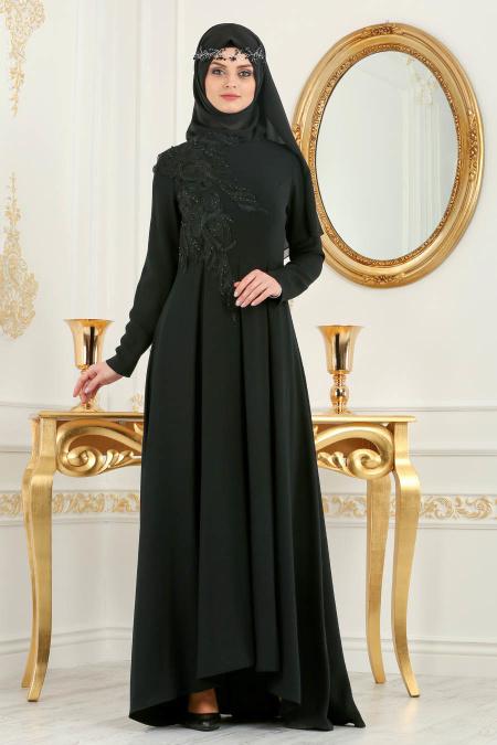 Neva Style - Pileli Siyah Tesettür Abiye Elbise 3520S