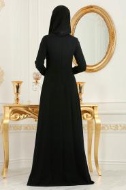 Neva Style - Pileli Siyah Tesettür Abiye Elbise 3520S - Thumbnail