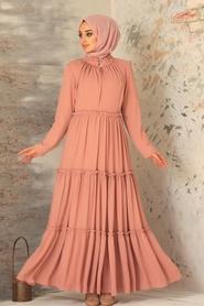 Neva Style - Pileli Somon Tesettür Elbise 2746SMN - Thumbnail