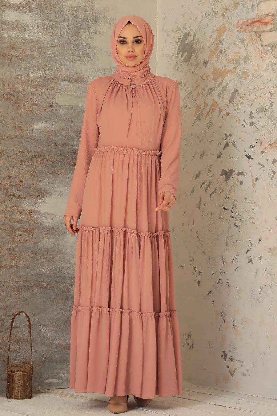 Neva Style - Pileli Somon Tesettür Elbise 2746SMN