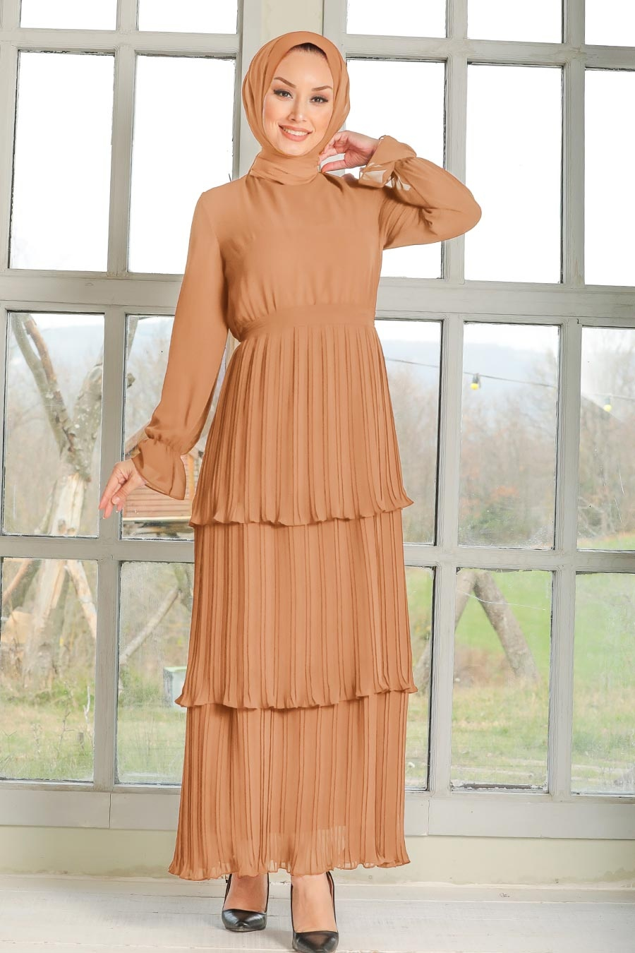 Neva Style - Pliseli Bisküvi Tesettür Elbise 2733BS