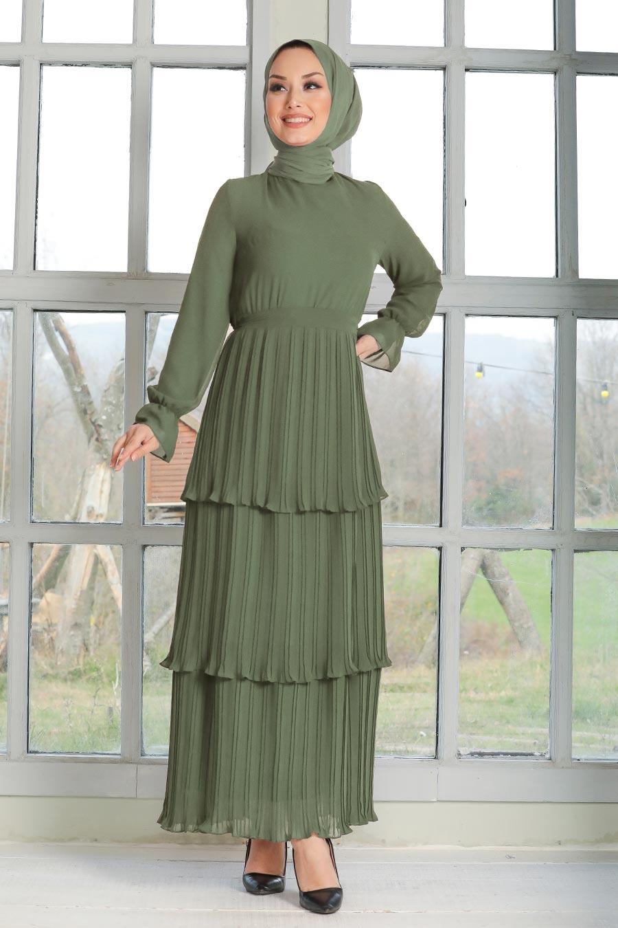 Neva Style - Pliseli Haki Tesettür Elbise 2733HK