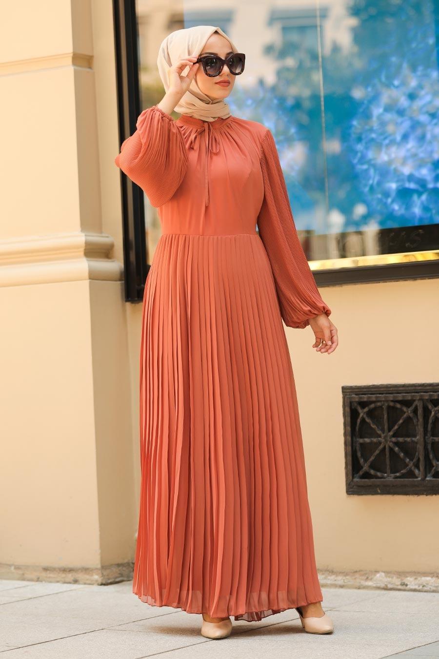 Neva Style - Pliseli Kiremit Tesettür Elbise 2411KRMT