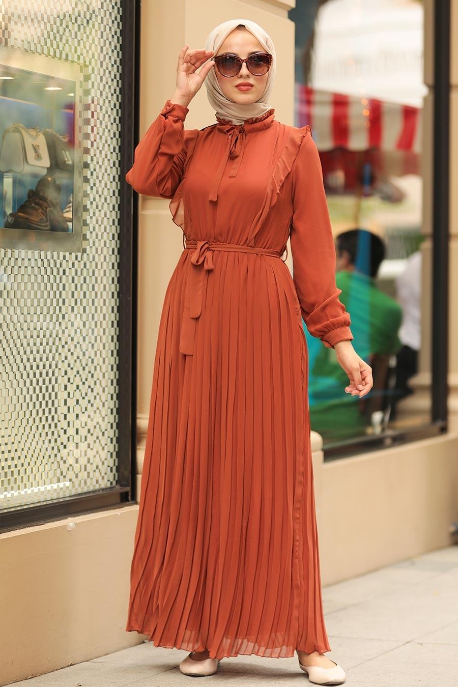 Neva Style - Pliseli Kiremit Tesettür Elbise 2413KRMT
