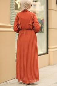 Neva Style - Pliseli Kiremit Tesettür Elbise 2413KRMT - Thumbnail