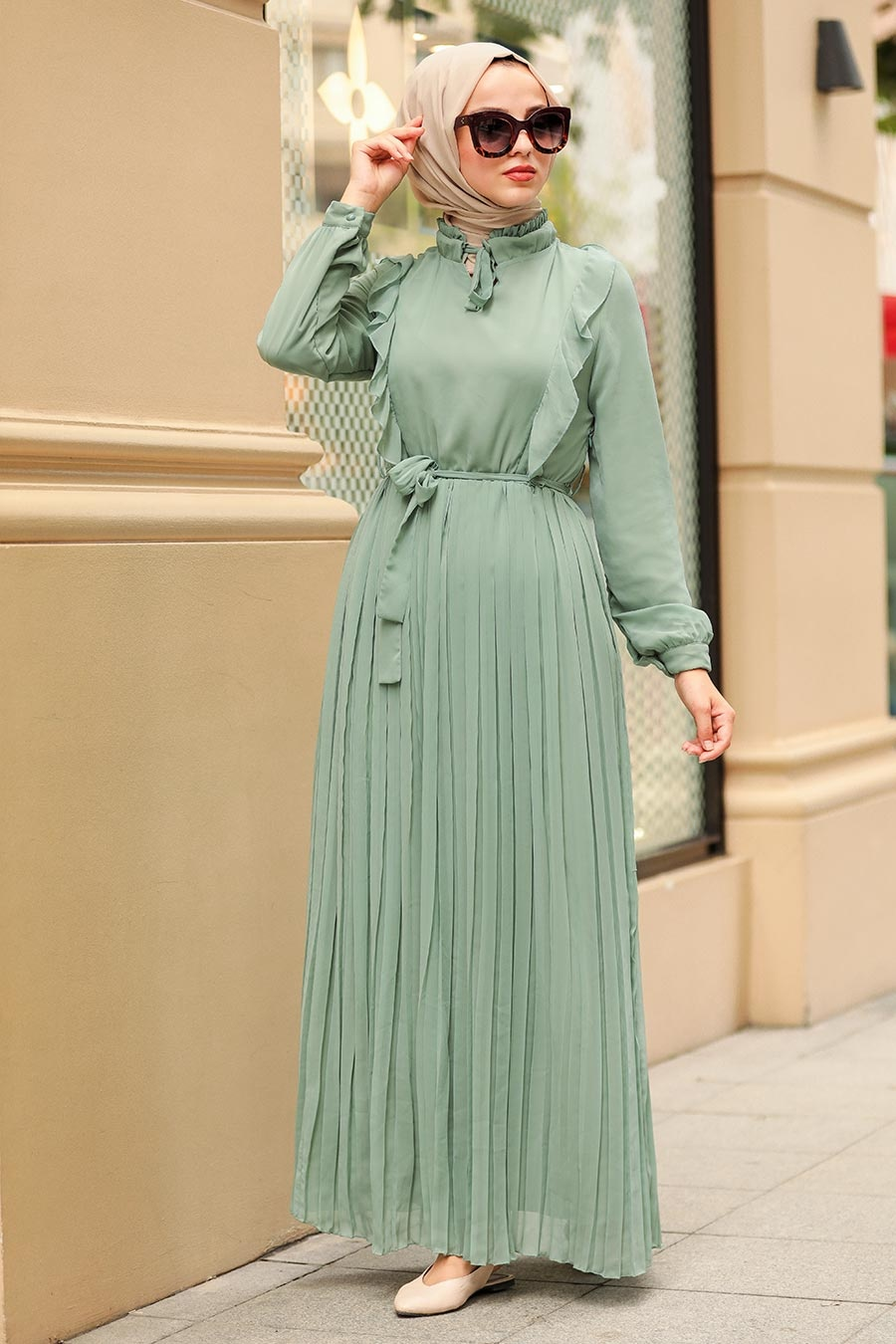 Neva Style - Pliseli Mint Tesettür Elbise 2413MINT