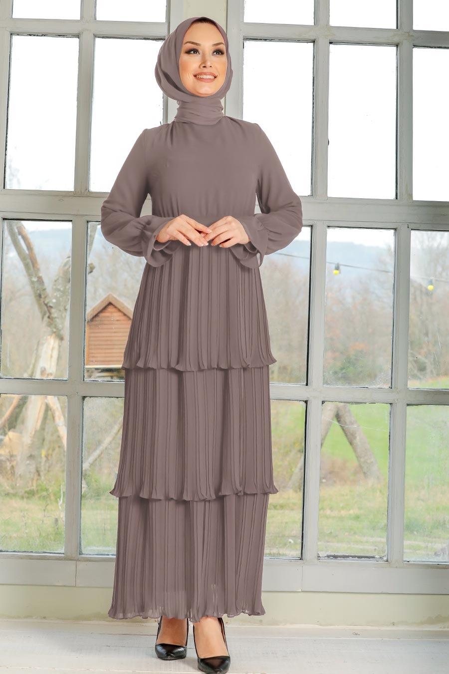 Neva Style - Pliseli Vizon Tesettür Elbise 2733V