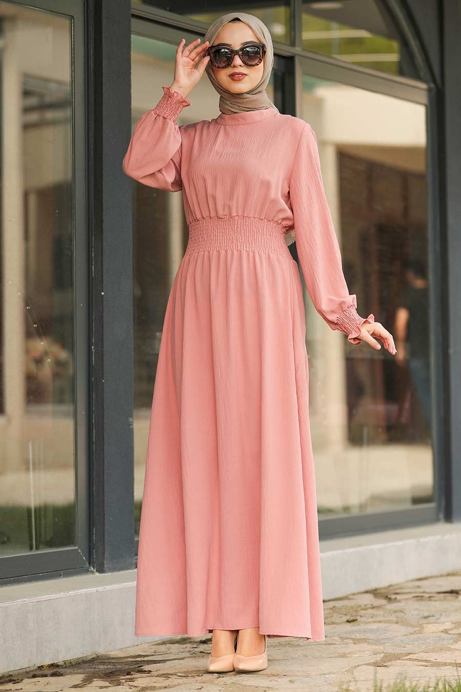 Neva Style - Pudra Tesettür Elbise 1149PD