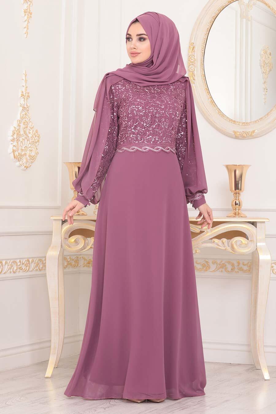 Neva Style - Pul Detaylı Gül Kurusu Tesettür Abiye Elbise 25736GK