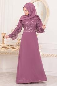 Neva Style - Pul Detaylı Gül Kurusu Tesettür Abiye Elbise 25736GK - Thumbnail