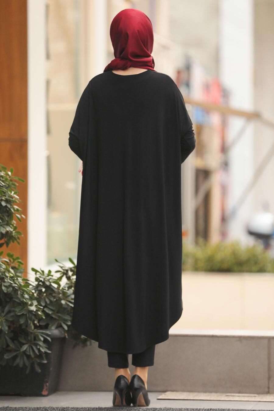 Neva Style - Pul Detaylı Siyah Tesettür Tunik 48460S