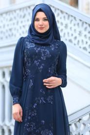 Neva Style - Pul Payet Çiçek Detaylı Lacivert Tesettür Abiye Elbise 52555L - Thumbnail