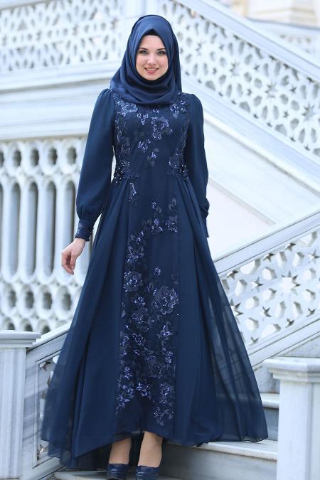 Neva Style - Pul Payet Çiçek Detaylı Lacivert Tesettür Abiye Elbise 52555L