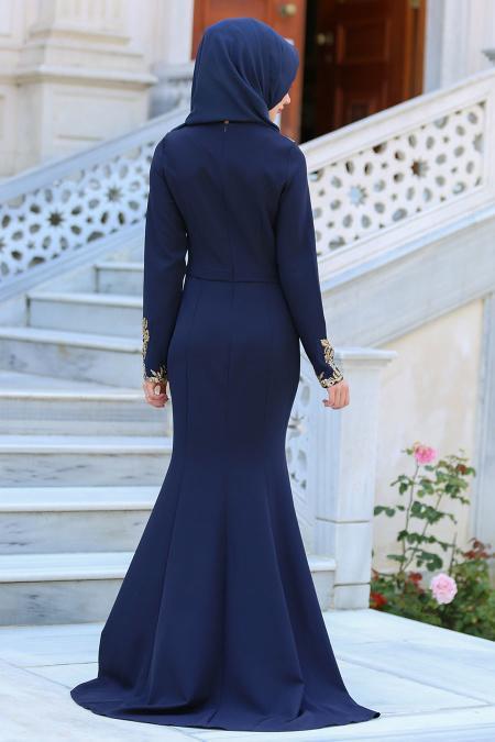 Neva Style - Pul Payet Detaylı Lacivert Tesettür Abiye Elbise 25599L
