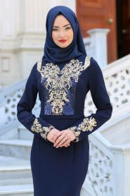 Neva Style - Pul Payet Detaylı Lacivert Tesettür Abiye Elbise 25599L - Thumbnail