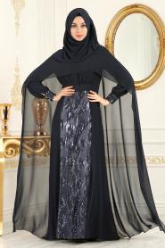 Neva Style - Pul Payet Detaylı Pelerinli Lacivert Tesettür Abiye Elbise 52574L - Thumbnail