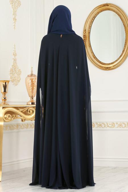 Neva Style - Pul Payet Detaylı Pelerinli Lacivert Tesettür Abiye Elbise 52574L