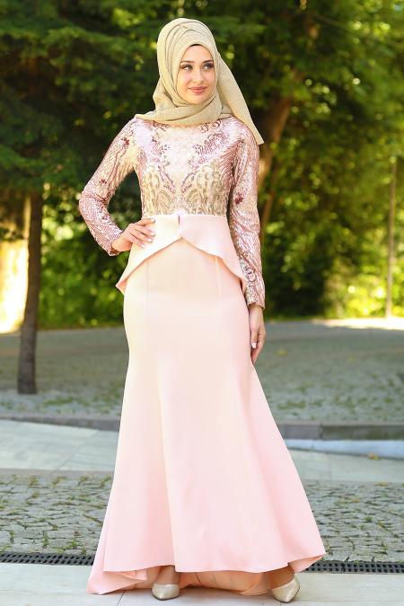 Neva Style - Pul Payet Detaylı Pudra Peplum Tesettür Abiye Elbise 25600PD