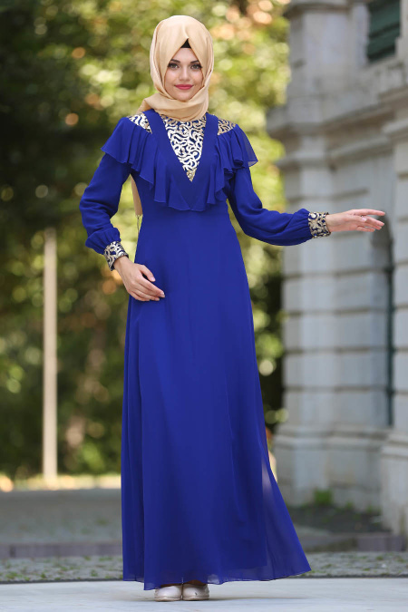 Neva Style - Pul Payet Detaylı Saks Mavisi Tesettür Abiye Elbise 25611SX