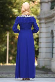 Neva Style - Pul Payet Detaylı Saks Mavisi Tesettür Abiye Elbise 25611SX - Thumbnail