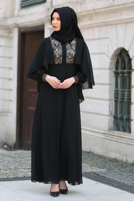 Neva Style - Pul Payet Detaylı Siyah Tesettür Abiye Elbise 52552S