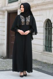 Neva Style - Pul Payet Detaylı Siyah Tesettür Abiye Elbise 52552S - Thumbnail