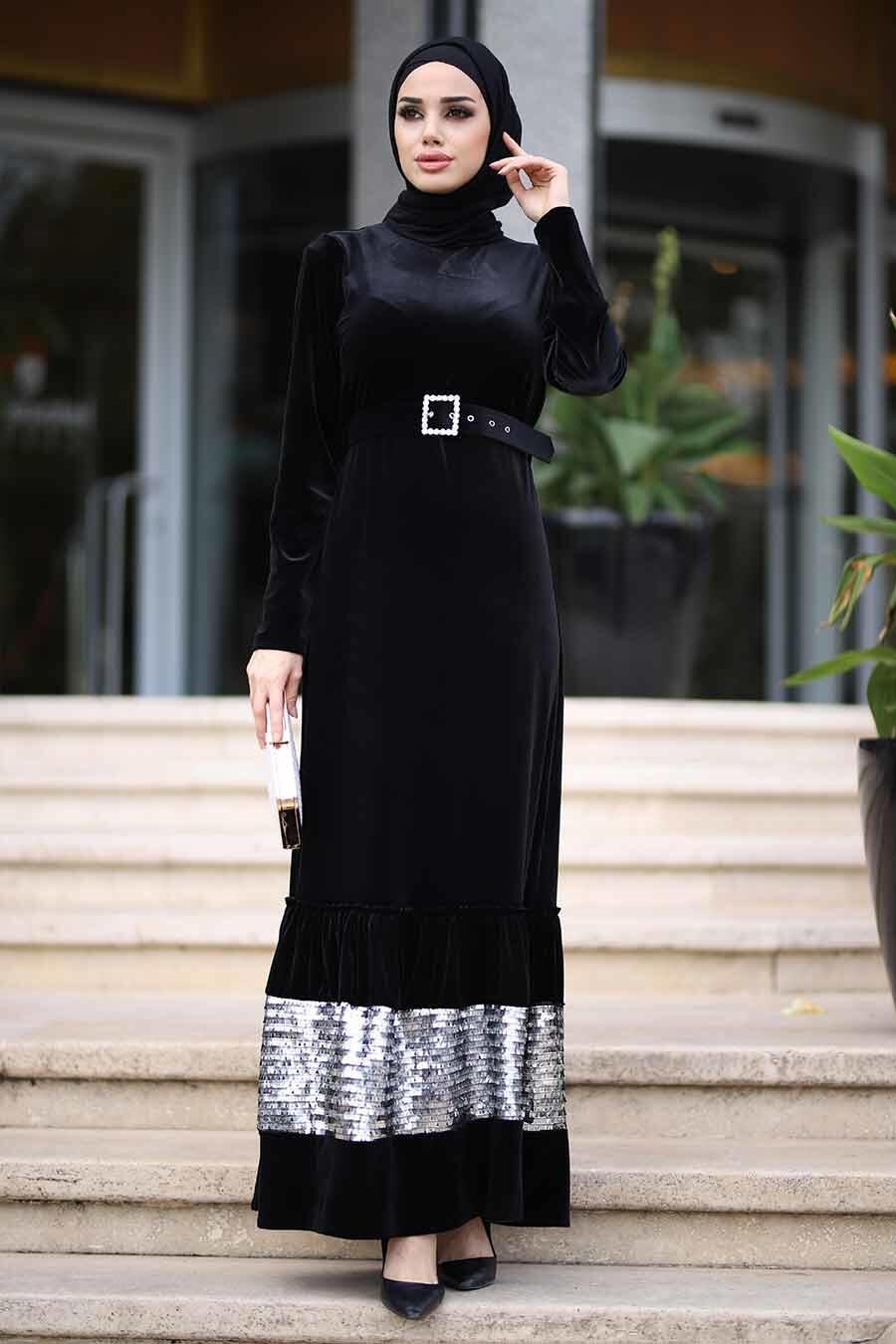 Neva Style - Pul Payet Detaylı Siyah Tesettür Kadife Elbise 11023S