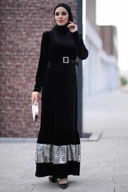Neva Style - Pul Payet Detaylı Siyah Tesettür Kadife Elbise 11023S - Thumbnail