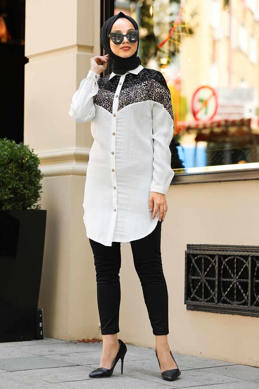 Neva Style - Pul Payetli Ekru Tesettür Gömlek 38030E