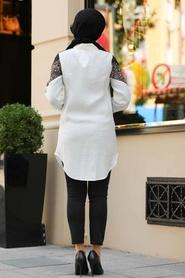 Neva Style - Pul Payetli Ekru Tesettür Gömlek 38030E - Thumbnail
