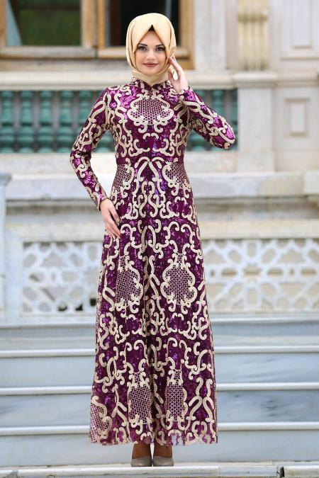 Neva Style - Pul Payetli Mürdüm Tesettür Abiye Elbise 3574MU