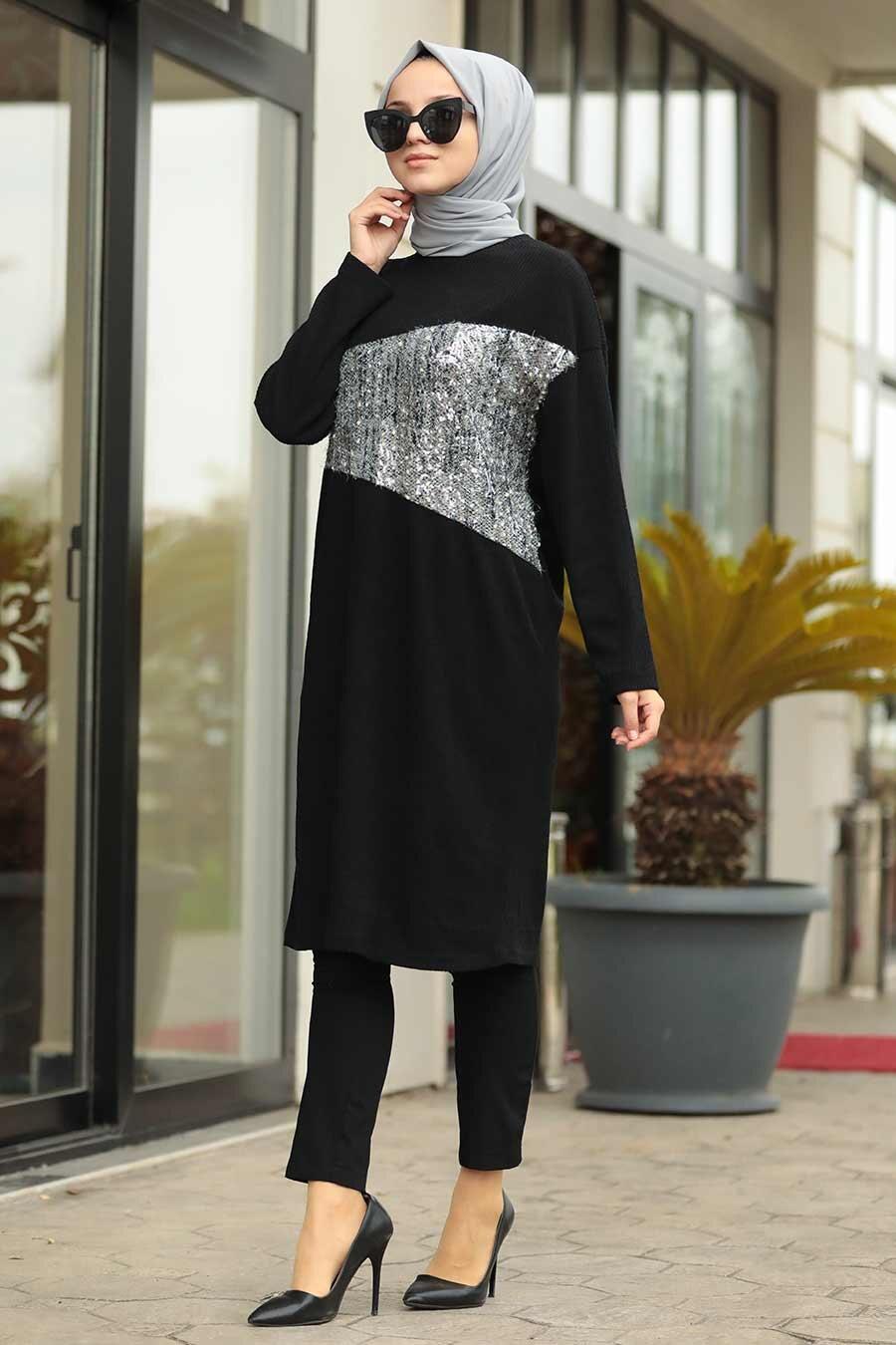 Neva Style - Önü Pul Detaylı Siyah Tesettür Tunik 12059S