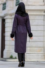 Neva Style - Purple Hijab Coat 53310MOR - Thumbnail