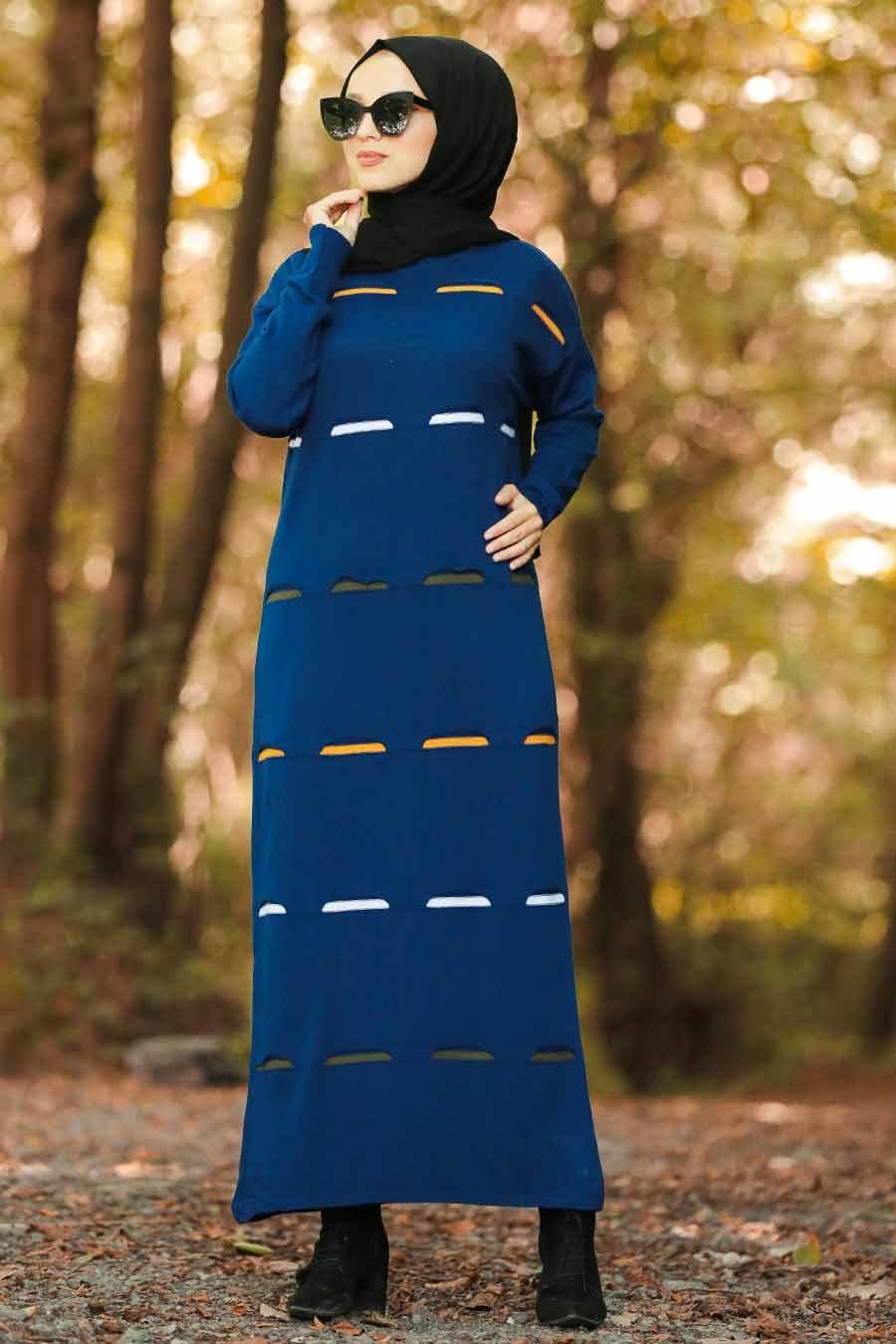 Neva Style - Renk Detaylı İndigo Mavisi Tesettür Triko Elbise 1052IM