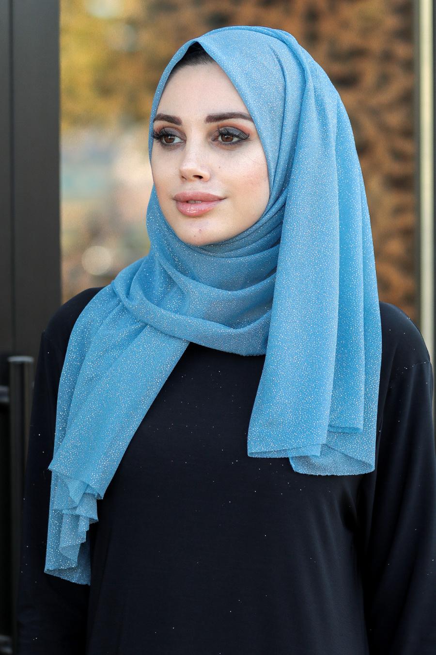 Neva Style - Simli Bebek Mavisi Şal 7551BM