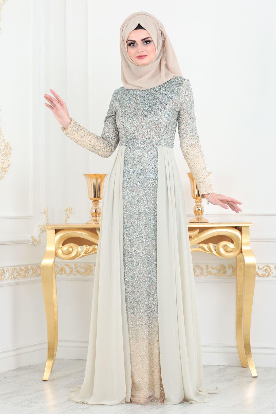 Neva Style - Simli Bej Tesettür Abiye Elbise 90020BEJ