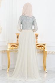 Neva Style - Simli Bej Tesettür Abiye Elbise 90020BEJ - Thumbnail