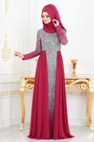 Neva Style - Simli Fuşya Tesettür Abiye Elbise 90020F - Thumbnail