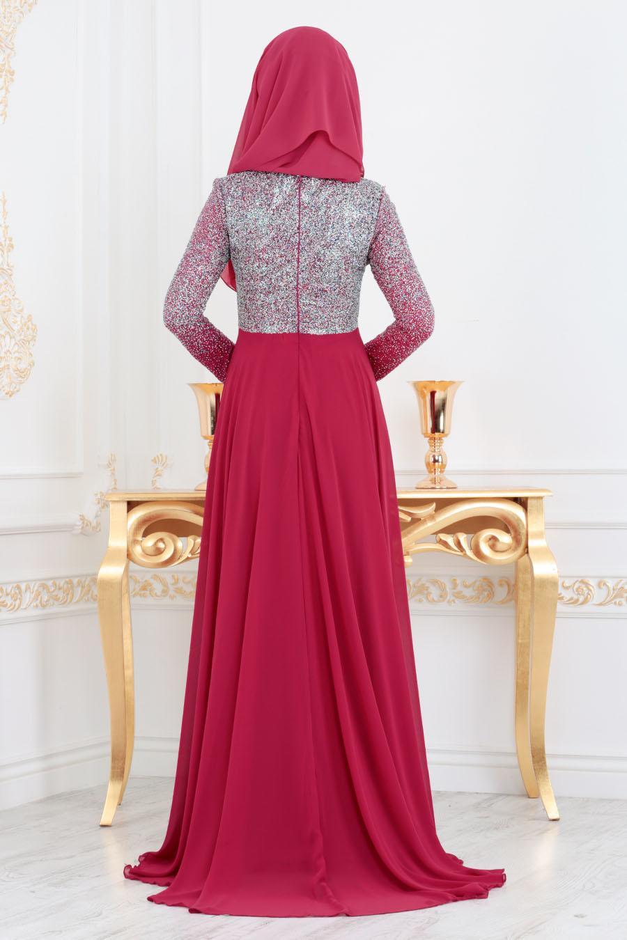 Neva Style - Simli Fuşya Tesettür Abiye Elbise 90020F