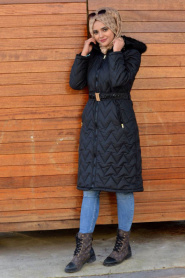 Neva Style - Siyah Kapitoneli Şişme Mont 50470S - Thumbnail