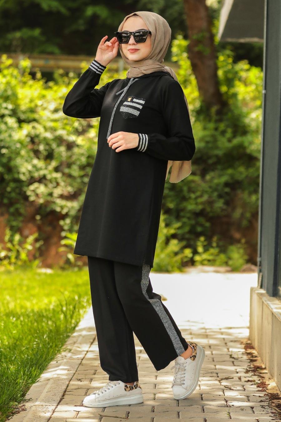 Neva Style - Siyah Tesettür İkili Takım 60711S