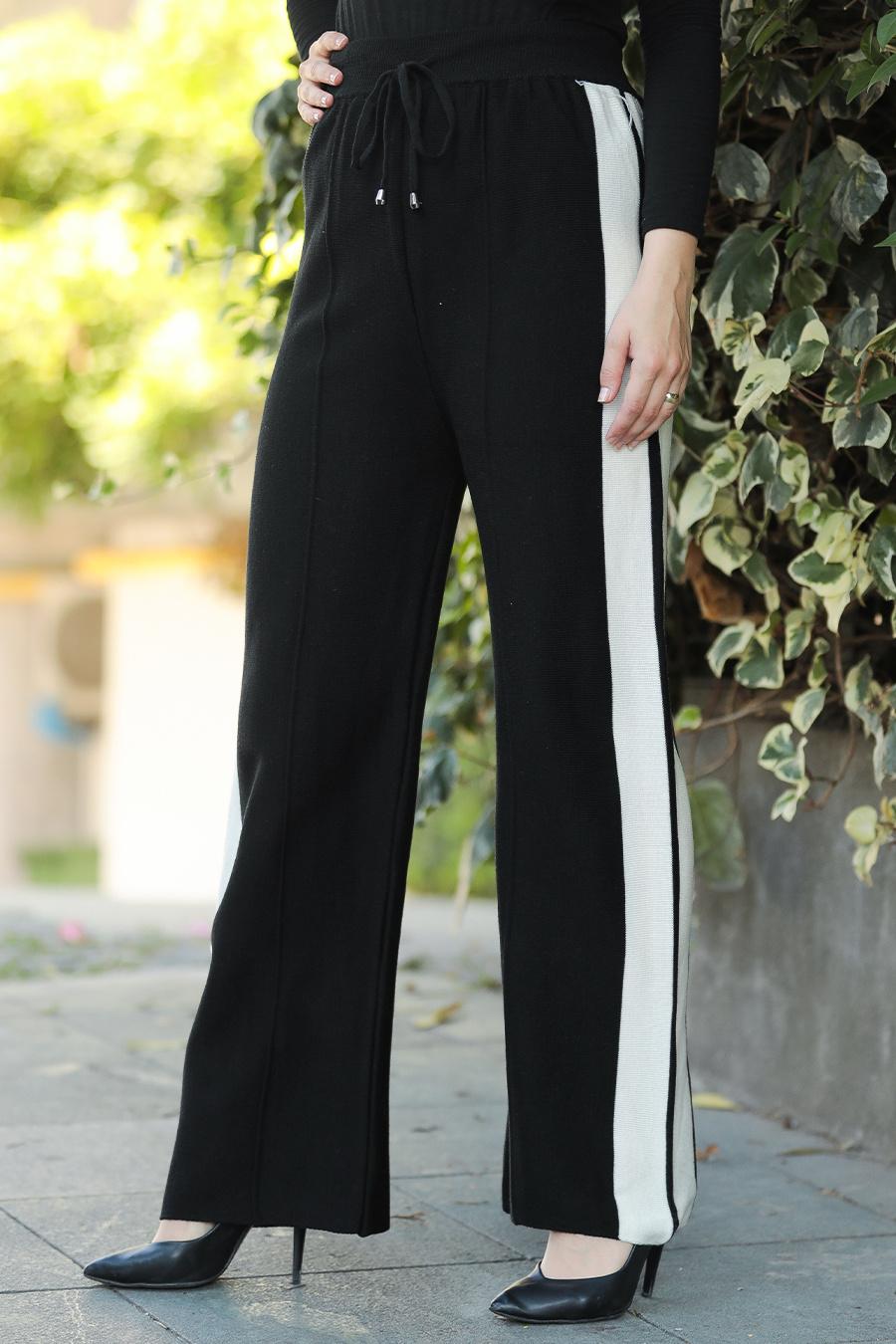 Neva Style - Siyah Tesettür Triko Pantolon 23160S