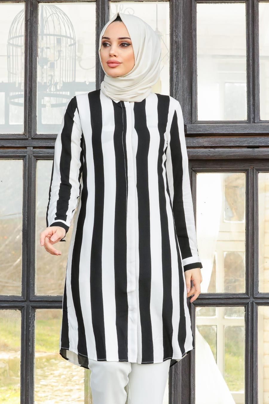 Neva Style - Siyah Tesettür Tunik 20191S