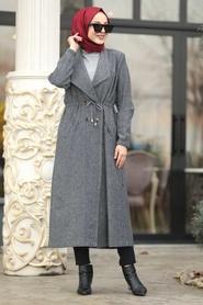 Neva Style - Smoked Hijab Coat 55005FU - Thumbnail